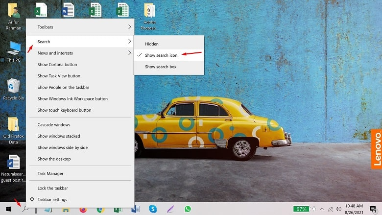 Reduce the size of the search box on taskbar